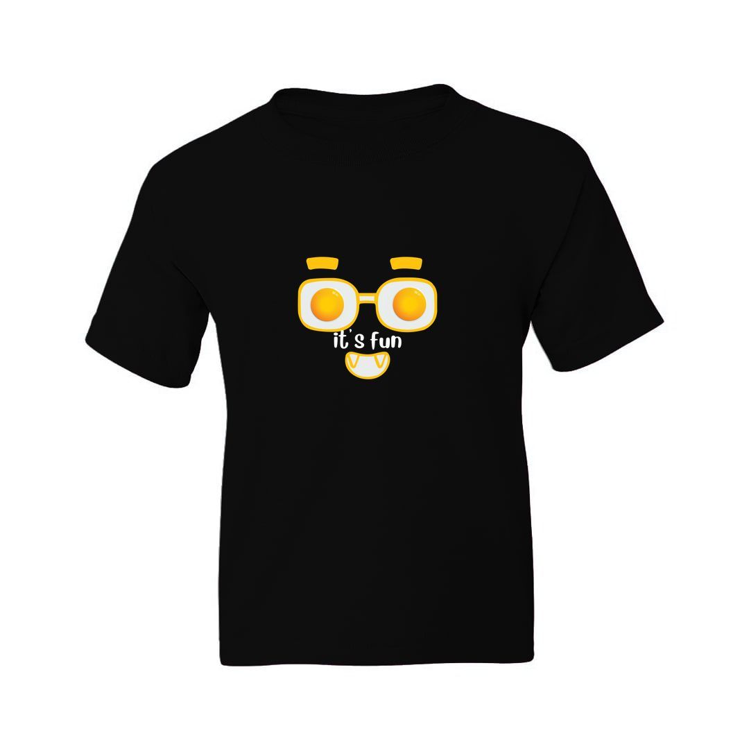 7e96f785 Its Fun For Foodies And Egg Half Boil Lovers Kids T Shirt Black Front.jpg