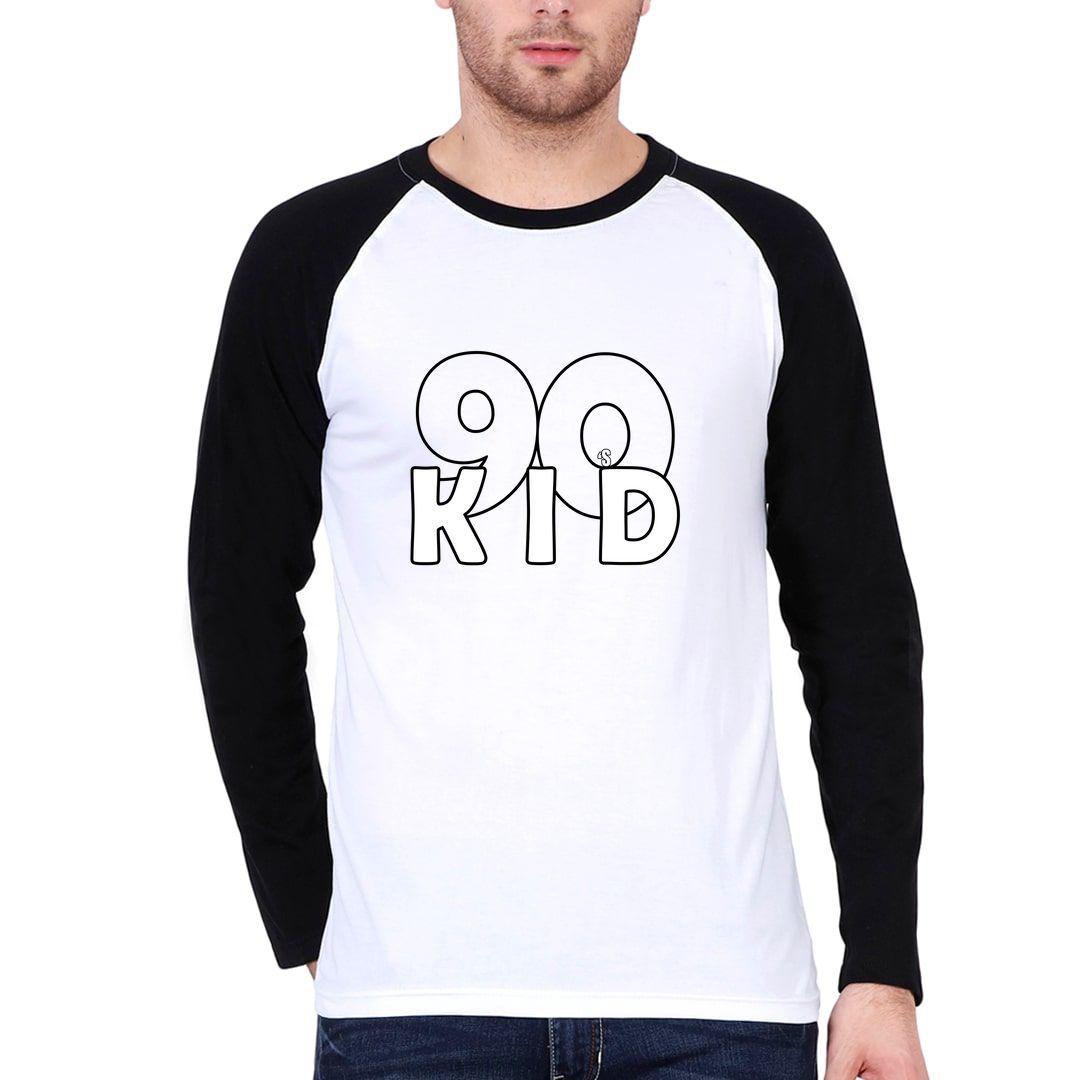 85974ebe 90s Kid Men Raglan Full Sleeve T Shirt Black White Front.jpg