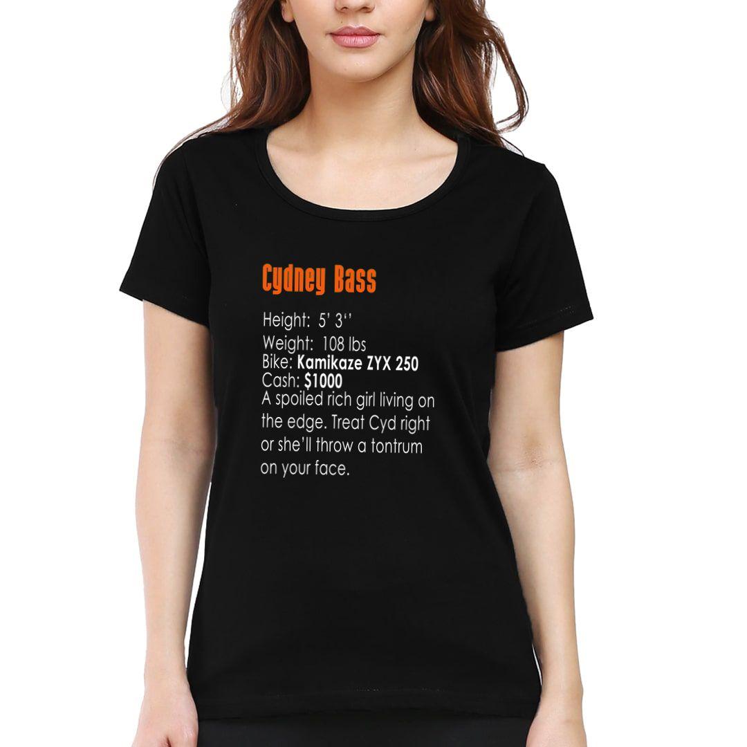 91936811 Cydney Bass 90s Bike Racing Gaming Nostalgia Women T Shirt Black Front.jpg