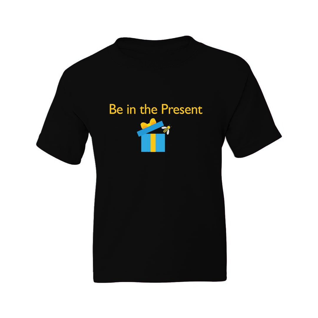 91a72171 Bee In The Present Funny Slogan Motivation Kids T Shirt Black Front.jpg