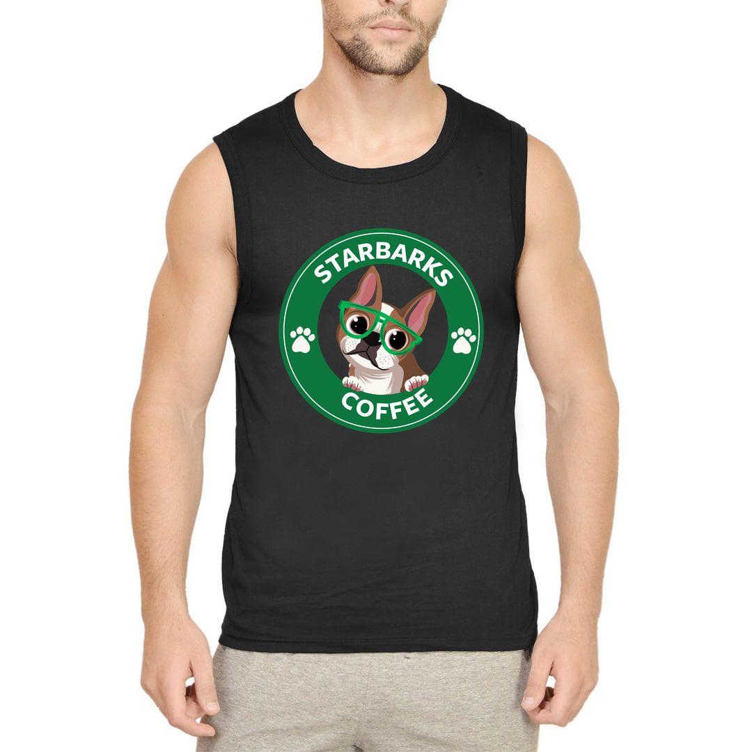 965f0cd4 Starbarks Coffee Men Sleeveless T Shirt Vest Black Front.jpg