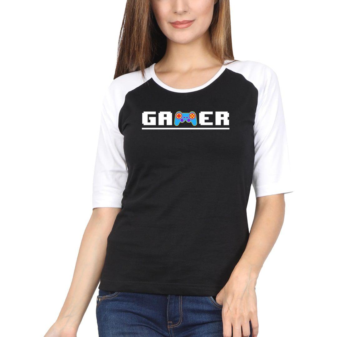 A3623205 Retro Gamer 8bit 90s Kid Women Raglan Elbow Sleeve T Shirt White Black Front.jpg