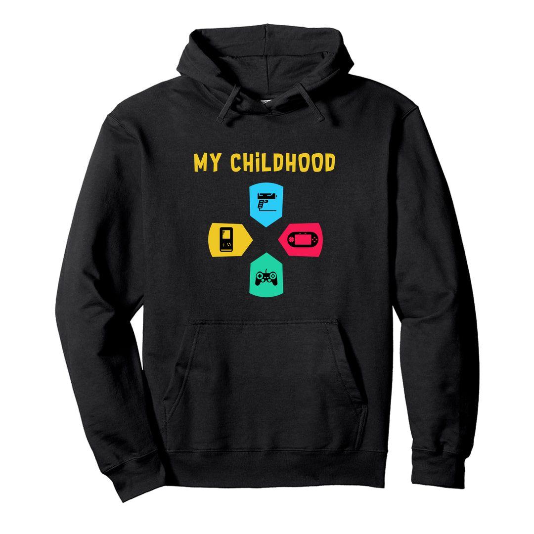 A56515b8 My Childhood 90s Kids Gaming Video Games Nostalgia Unisex Hooded Sweatshirt Hoodie Black Front.jpg
