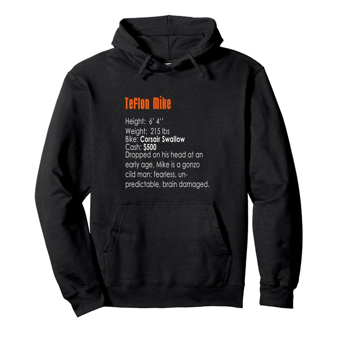 B463c7af Teflon Mike 90s Bike Racing Gaming Nostalgia Unisex Hooded Sweatshirt Hoodie Black Front.jpg