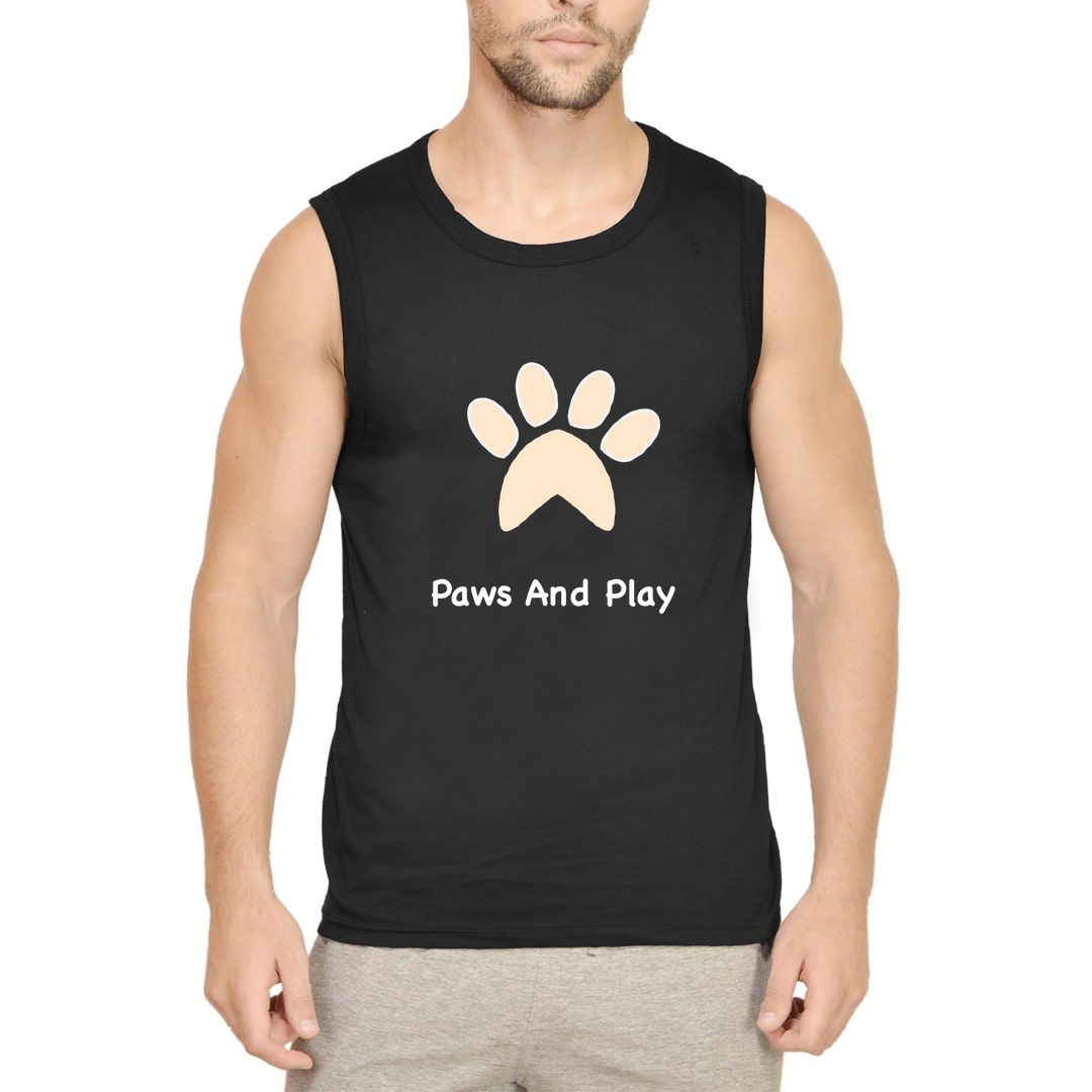 B65759ef Paws And Play For Dog Pet Puppy Lover Men Sleeveless T Shirt Vest Black Front.jpg