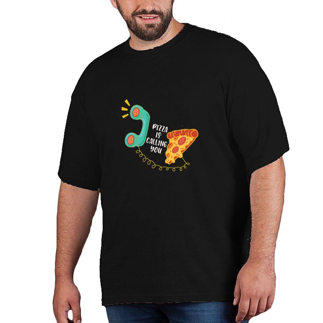 Bca54c38 Pizza Is Calling You Plus Size T Shirt Black Front.jpg