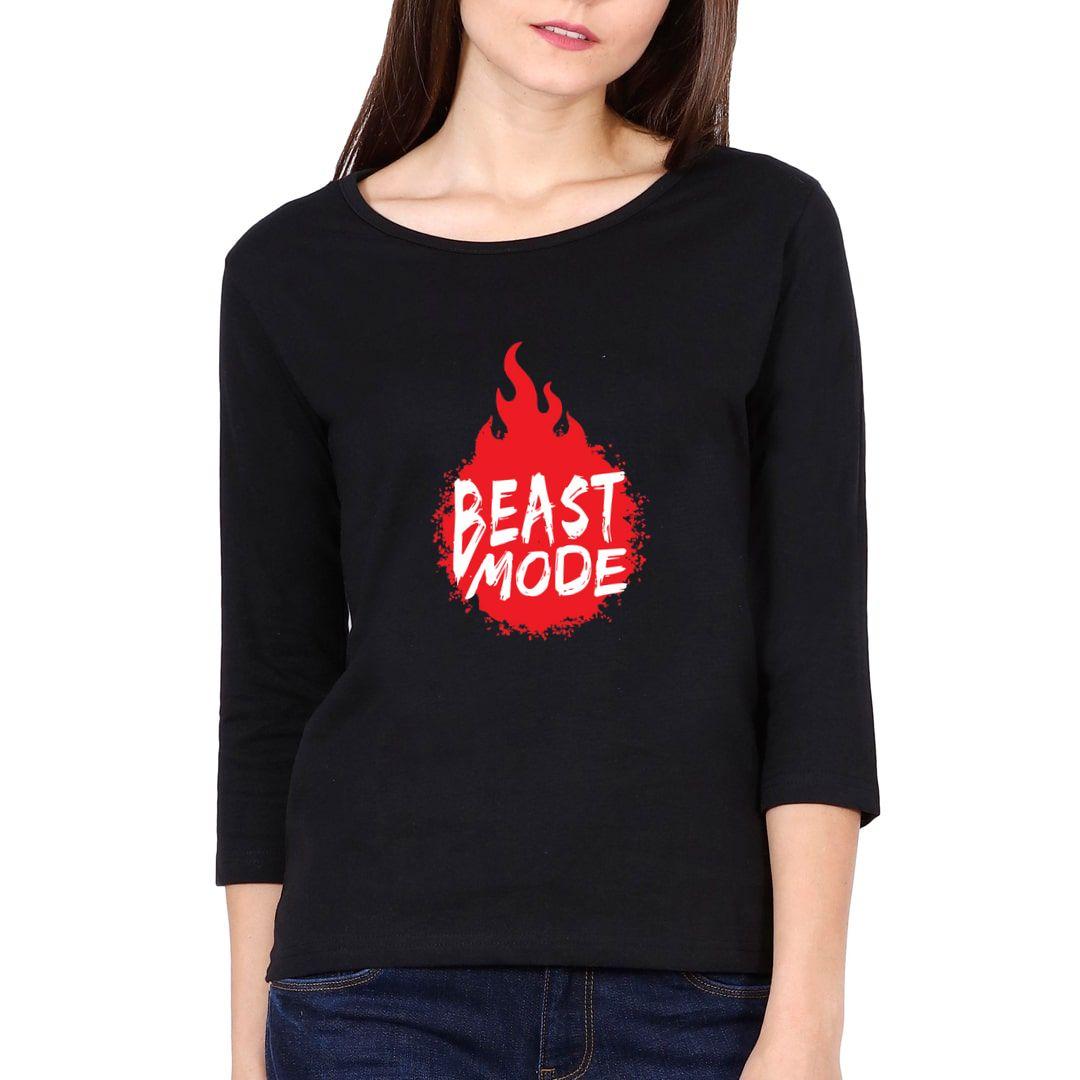 C34d2445 Beast Mode Elbow Sleeve Women T Shirt Black Front.jpg
