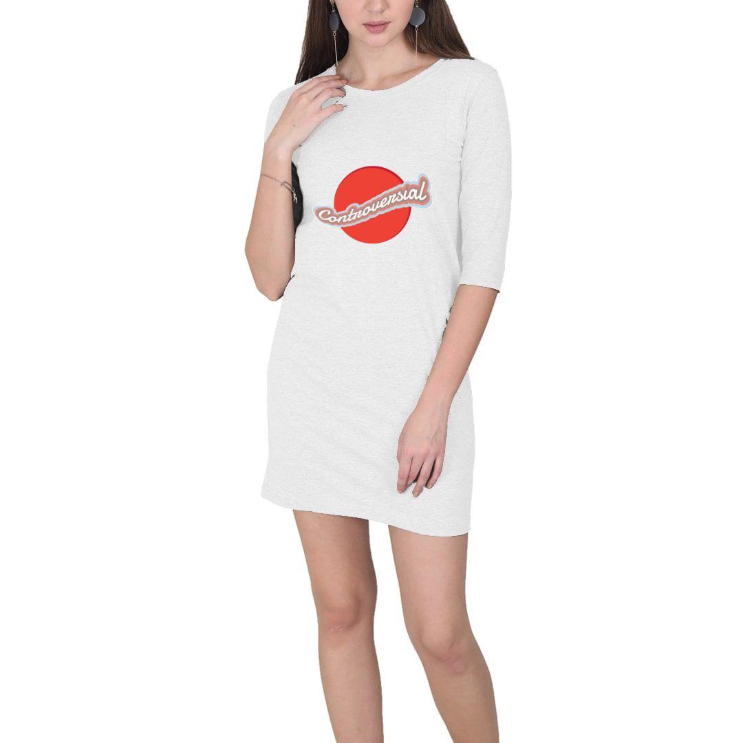 C77d8d35 Controversial Typography Graphic Design Attitude Women T Shirt Dress White Front.jpg