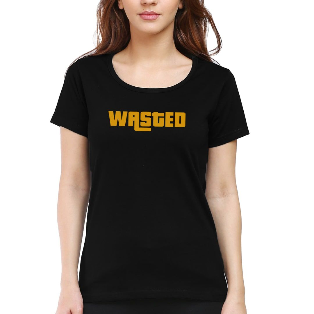 F1e45e93 Wasted For Gaming Geeks Women T Shirt Black Front.jpg