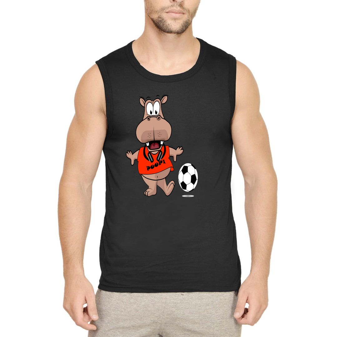 F45ac669 Poopi Cute Funny Hippo Character For Animal And Football Lovers Men Sleeveless T Shirt Vest Black Front.jpg