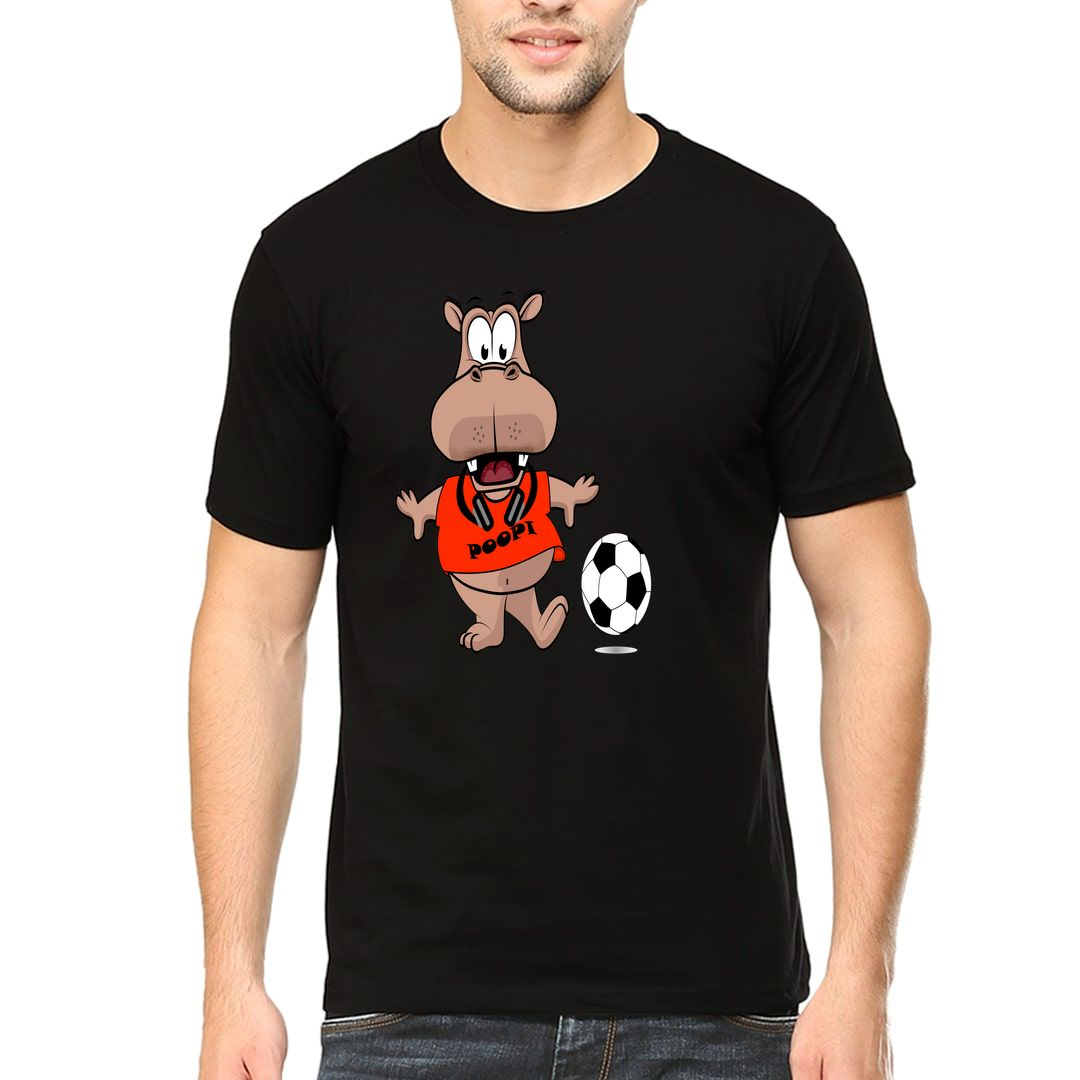 F45ac669 Poopi Cute Funny Hippo Character For Animal And Football Lovers Men T Shirt Black Front.jpg