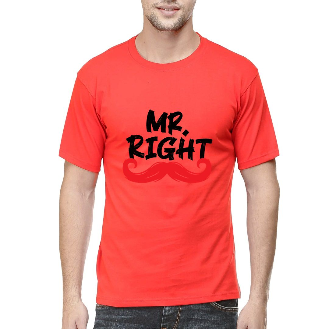 F8512a79 Mr Right Men T Shirt Red Front.jpg