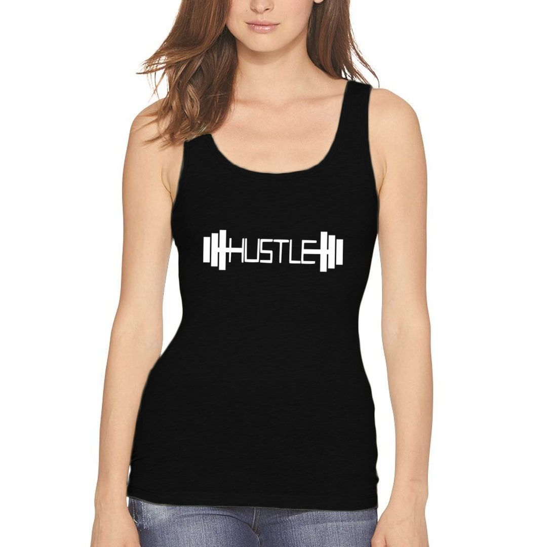 0c0703eb Hustle For Gym And Fitness Lovers Women Tank Top Black Front.jpg