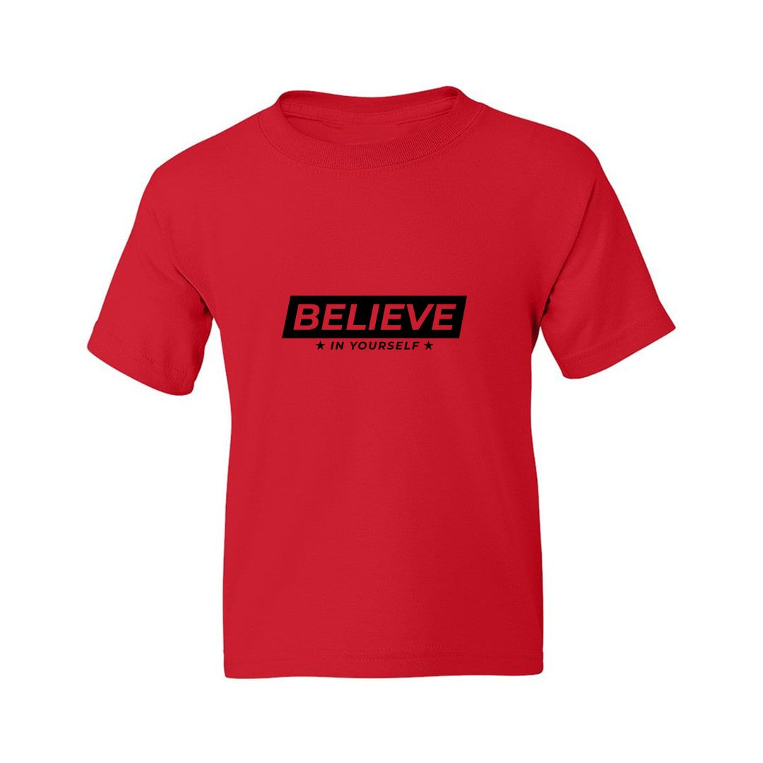 17bb8f09 Believe In Yourself Kids T Shirt Red Front.jpg