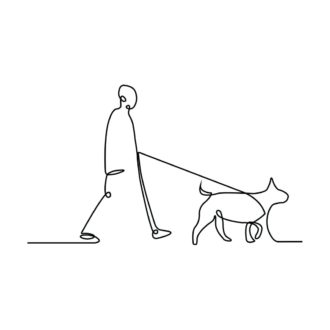 1b6e6d1c human with dog line art white