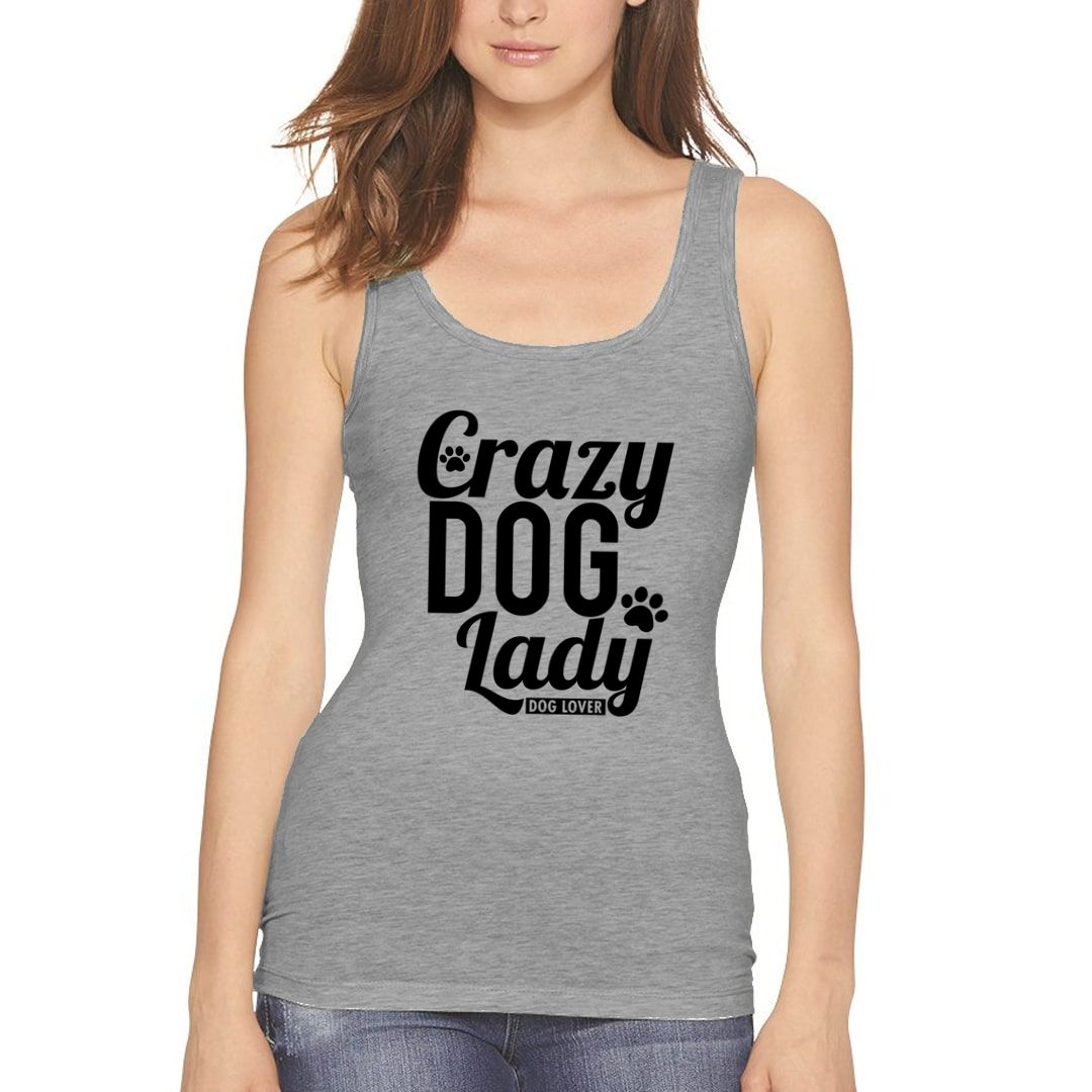 316091e8 Crazy Dog Lady For Dog Lovers Women Tank Top Grey Front.jpg