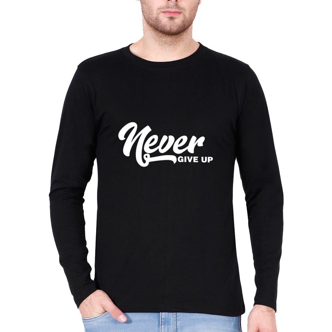 34372c1f Never Give Up Full Sleeve Men T Shirt Black Front.jpg