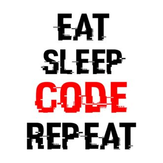 368db0ce eat sleep code repeat slogan for coders white
