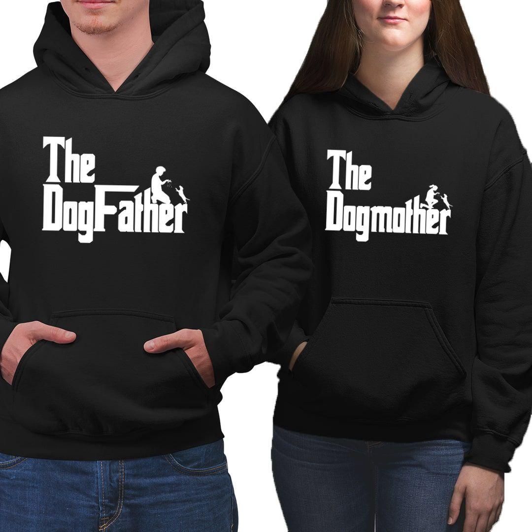 37ced34d The Dogfather The Dogmother For Pet Parents And Dog Lovers Couple Hoodies 1