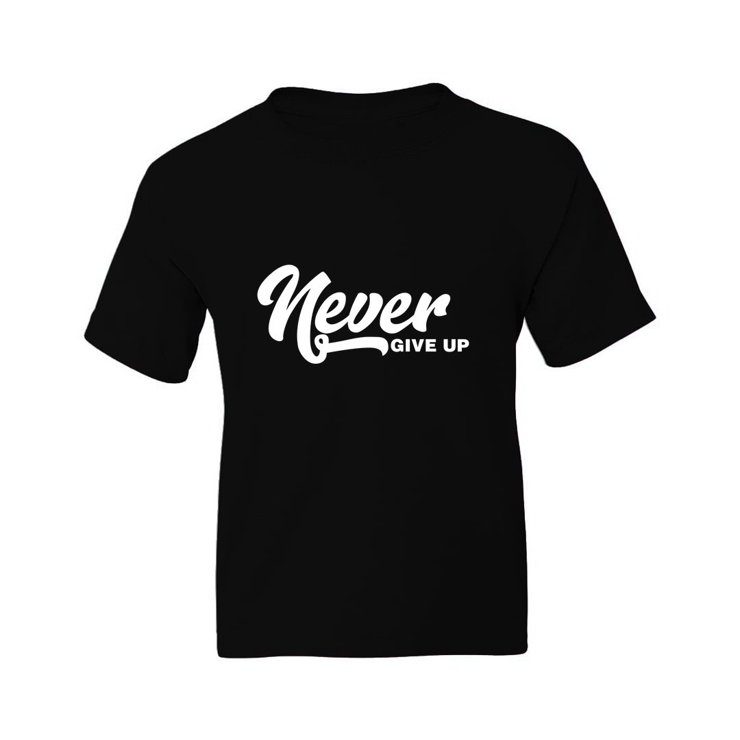 42ac482f Never Give Up Kids T Shirt Black Front.jpg