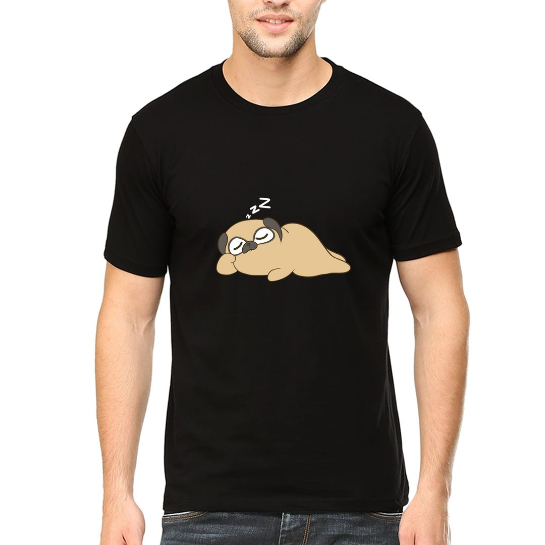 47f03439 The Sleepy Pug Cute Cartoon For Pug Lovers Moms And Dads Men T Shirt Black Front.jpg