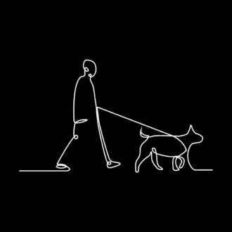 5375b28d human and dog line art for dog lovers black