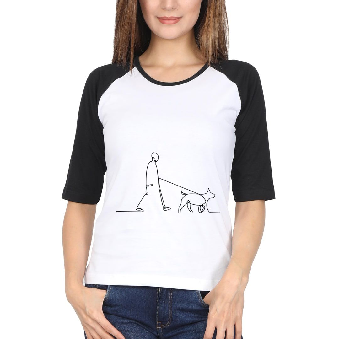 699c6c1f Human With Dog Line Art Women Raglan Elbow Sleeve T Shirt Black White Front.jpg