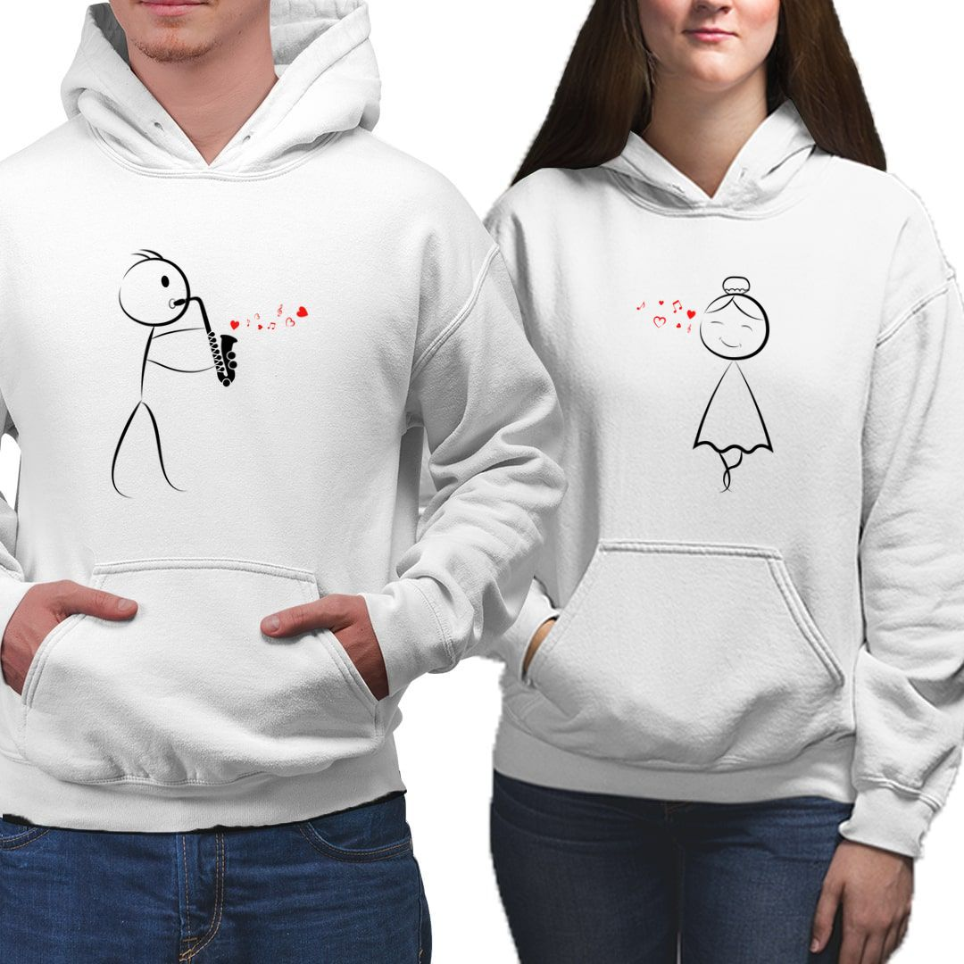 70a5ca75 Your Love Is Music To My Ears Cute Stick Figure Art Valentines Day Couple Hoodies
