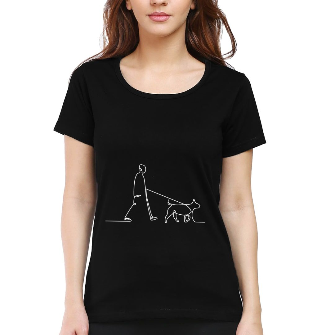 73c60a42 Human And Dog Line Art For Dog Lovers Women T Shirt Black Front.jpg