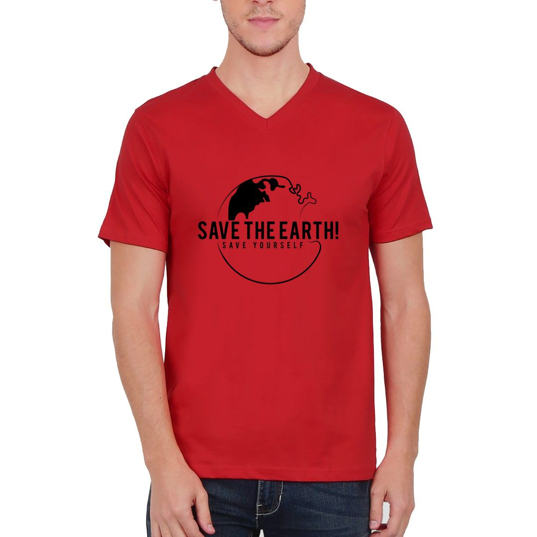 76e5739e Save The Earth And Save Yourself Men V Neck T Shirt Red Front.jpg