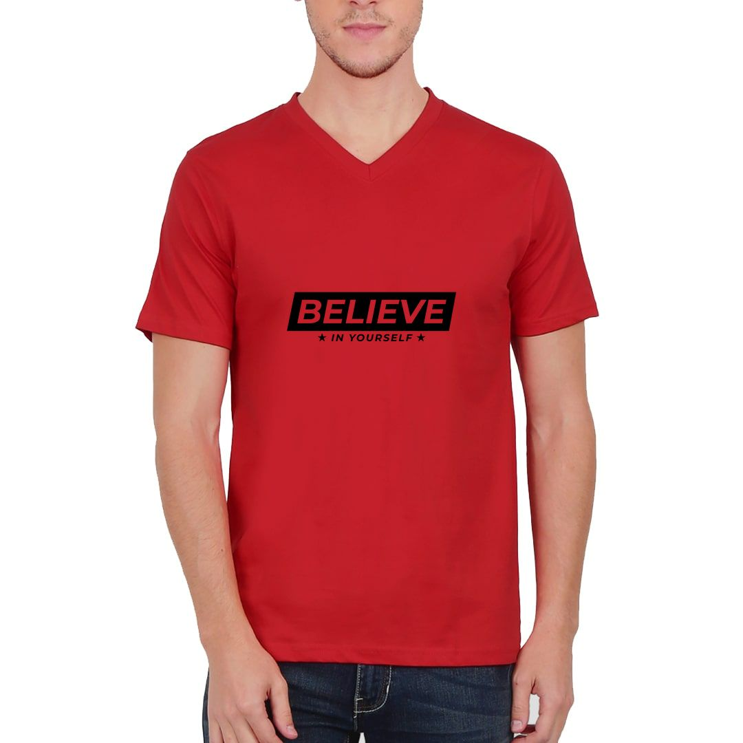 799d1b2e Believe In Yourself Men V Neck T Shirt Red Front.jpg