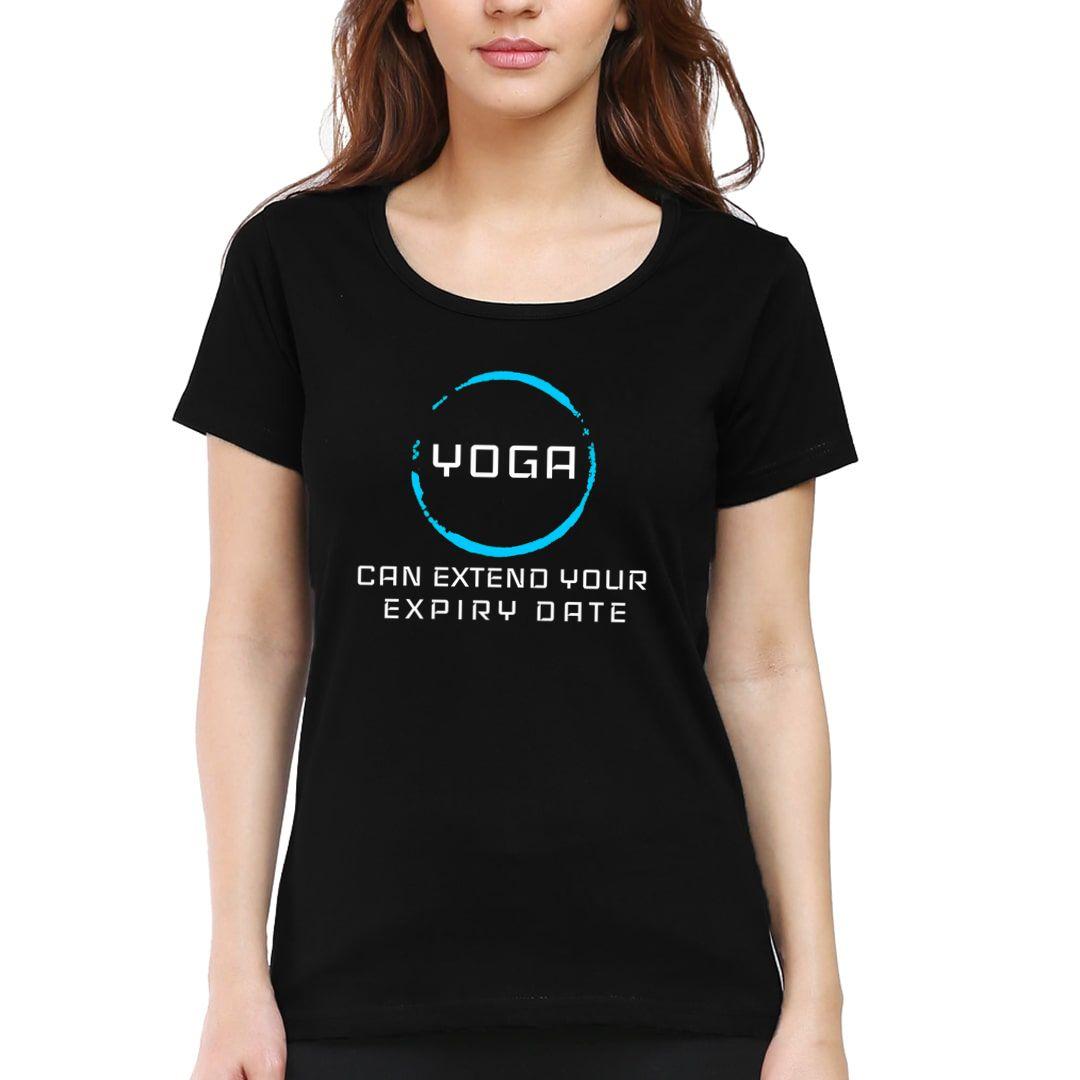 8573627b Yoga Can Extend Your Expiry Date Women T Shirt Black Front.jpg