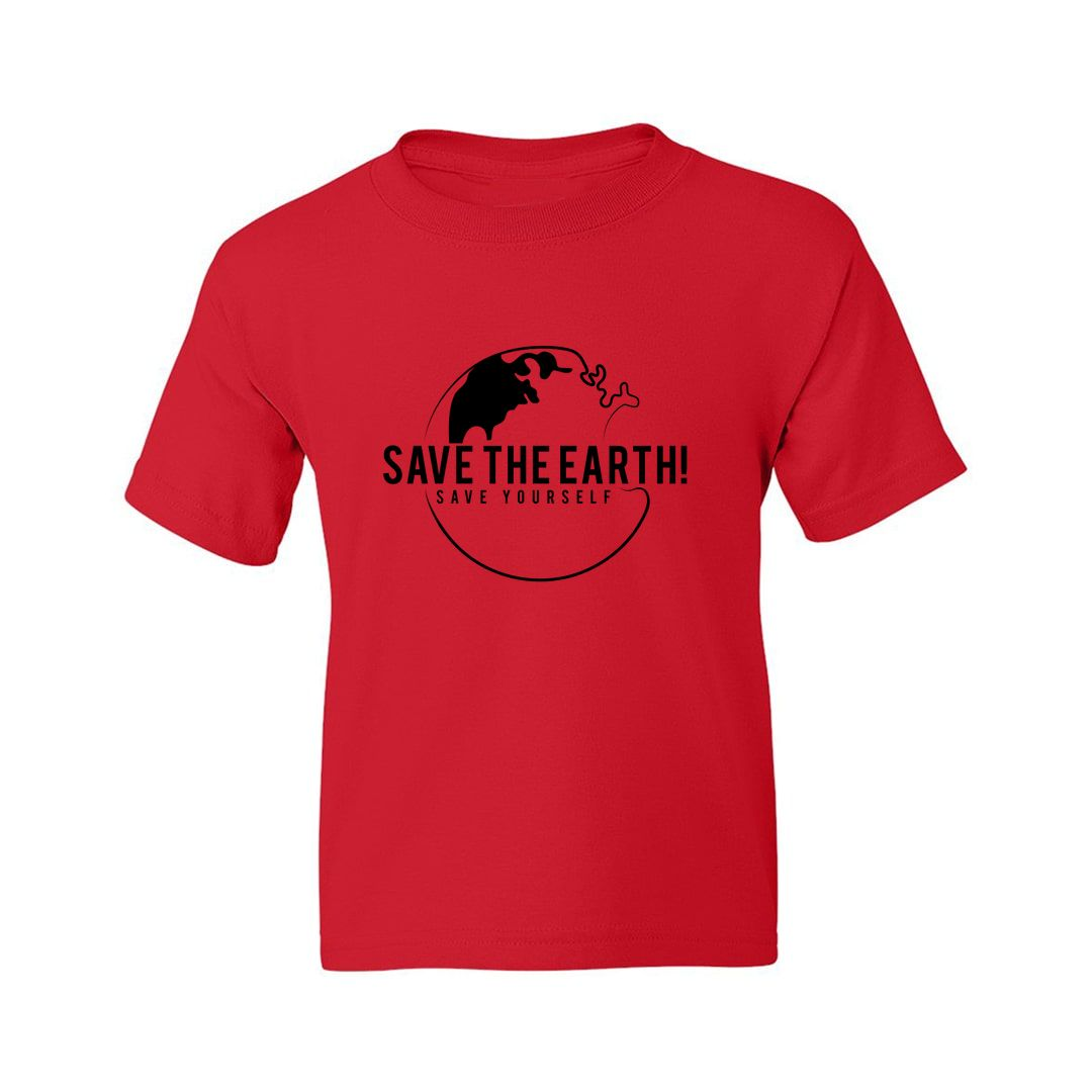 919c0e6a Save The Earth And Save Yourself Kids T Shirt Red Front.jpg