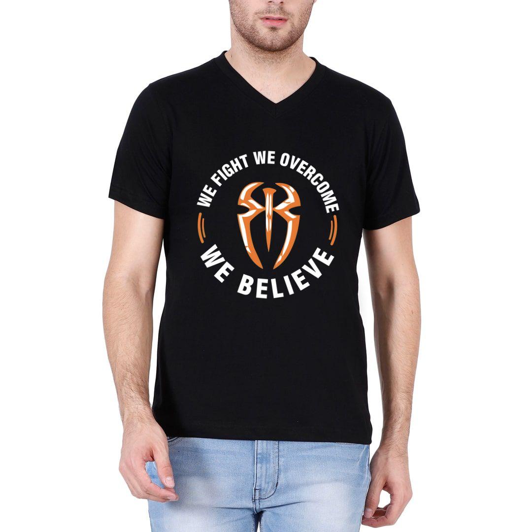 923ae4c2 We Fight We Overcome We Believe Men V Neck T Shirt Black Front.jpg