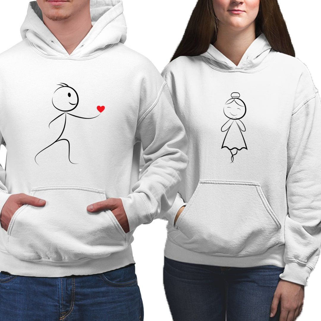 98c04dac Love Propose Cute Stick Figure Art Valentines Day Gift Couple Hoodies