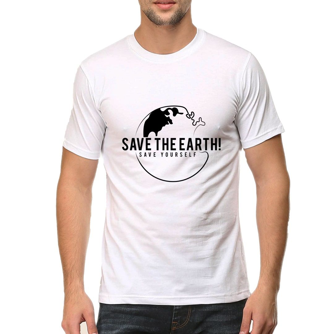 99ded385 Save The Earth And Save Yourself Men T Shirt White Front.jpg