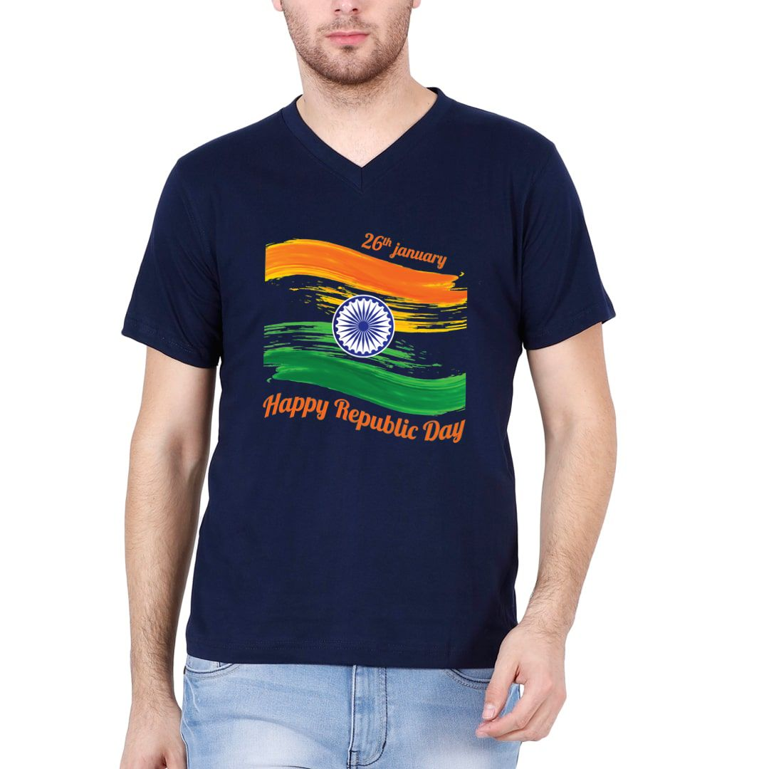 9fd784aa Happy Republic Day 26th Jan Men V Neck T Shirt Navy Front.jpg
