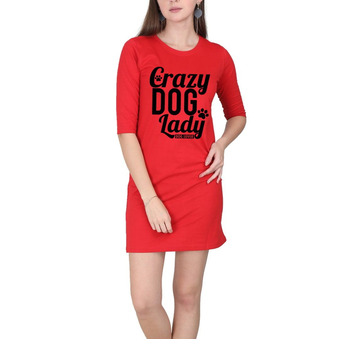 A1b3a201 Crazy Dog Lady For Dog Lovers Women T Shirt Dress Red Front.jpg