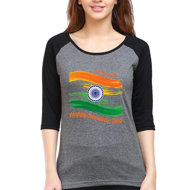 d3e7304e happy republic day 26th jan women raglan elbow sleeve t shirt black charcoal front.jpg