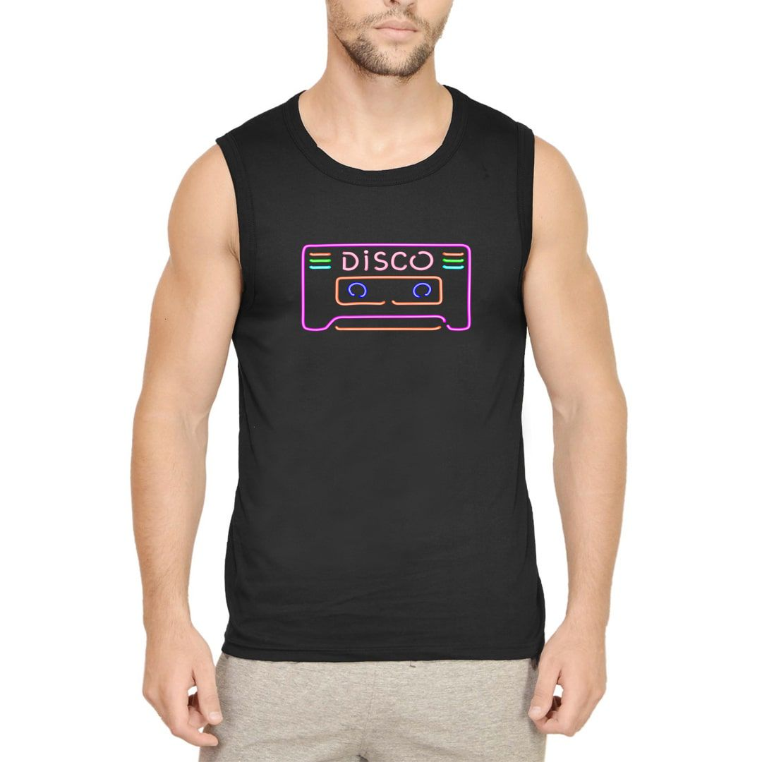 Dfb369c3 Disco Playlist Men Sleeveless T Shirt Vest Black Front.jpg