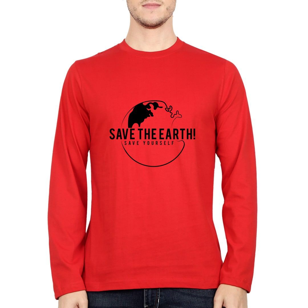E267eea4 Save The Earth And Save Yourself Full Sleeve Men T Shirt Red Front.jpg