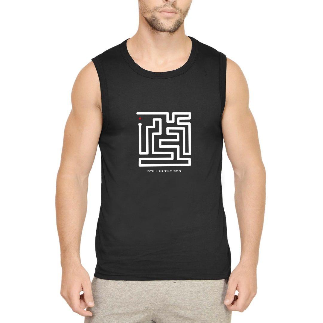 F0e92307 Stuck In The 90s Men Sleeveless T Shirt Vest Black Front.jpg