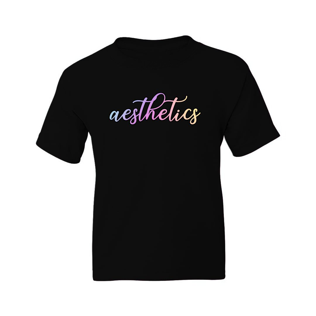 F6d5aca3 Aesthetics Beauty Kids T Shirt Black Front.jpg