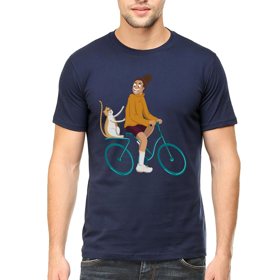 03a511e2 Cycling With Kitty Men T Shirt Navy Front.jpg