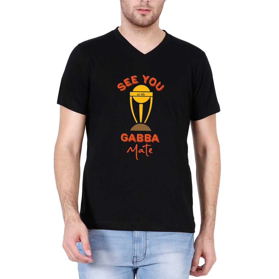 0e02c33d See You At The Gabba Mate Funny Cricket Men V Neck T Shirt Black Front.jpg