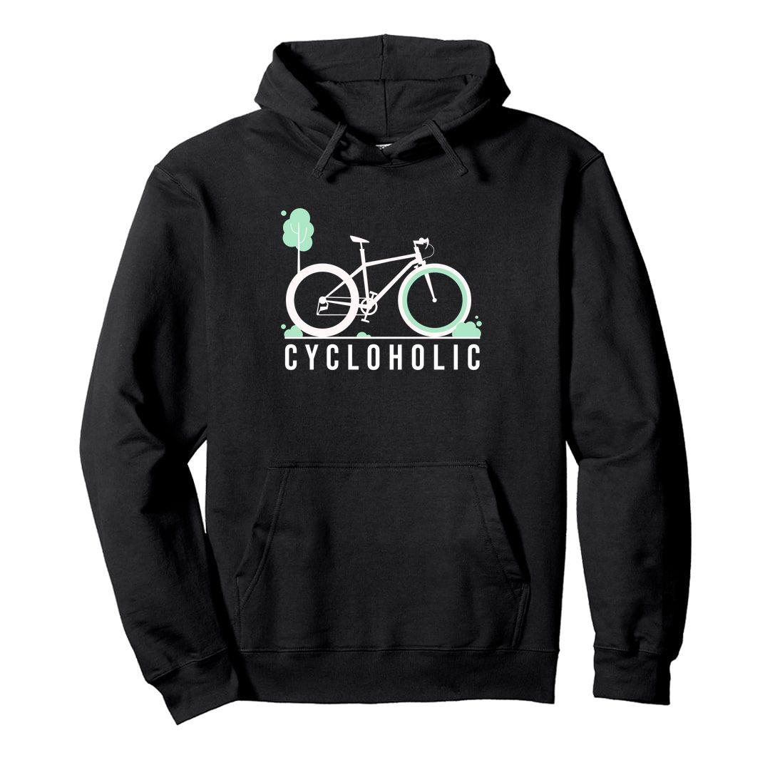 1aa525d9 Cycloholic Unisex Hooded Sweatshirt Hoodie Black Front.jpg