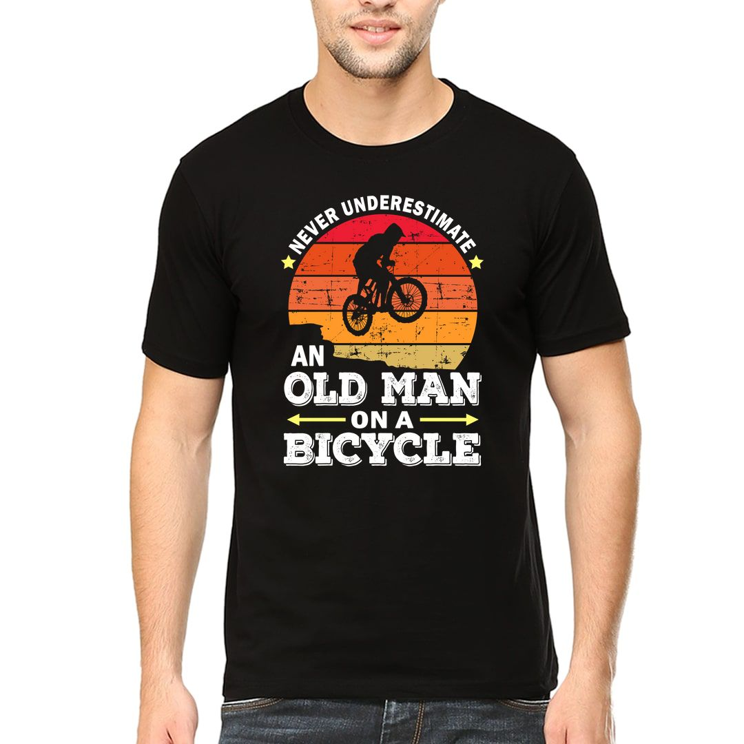 3834df67 Never Underestimate An Old Man On A Bicycle Men T Shirt Black Front.jpg