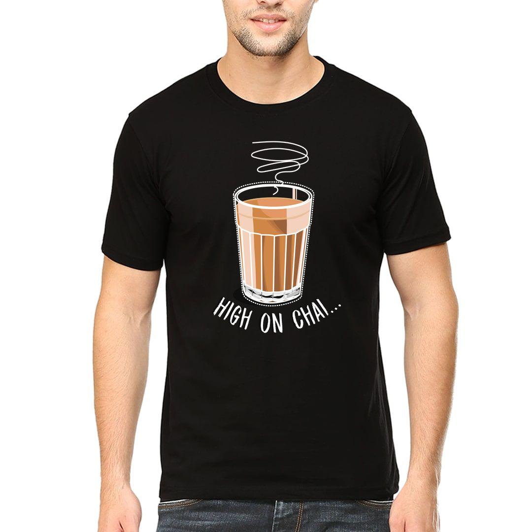 414f40ab High On Chai Men T Shirt Black Front.jpg