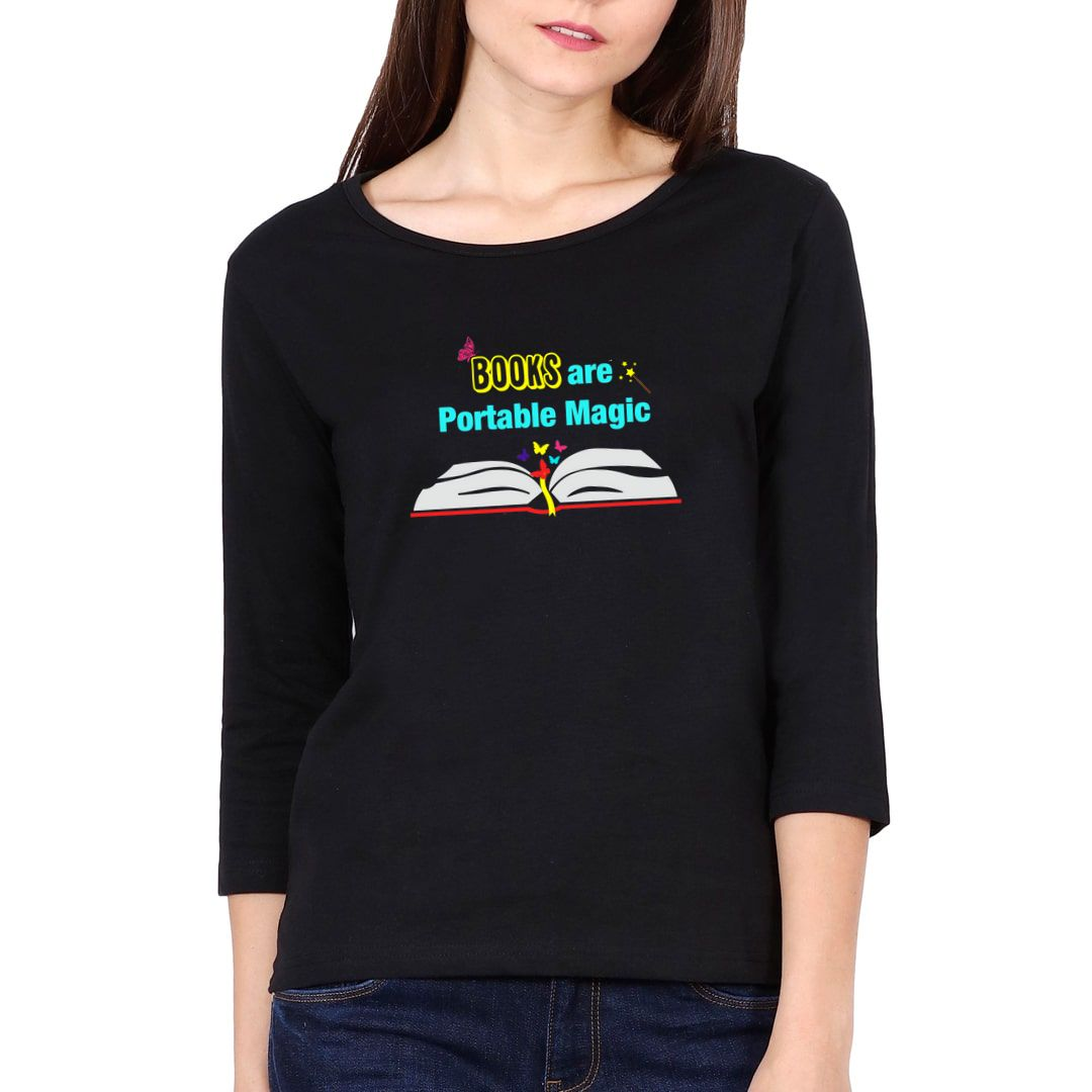 665bee37 Books Are Portable Magic Elbow Sleeve Women T Shirt Black Front.jpg