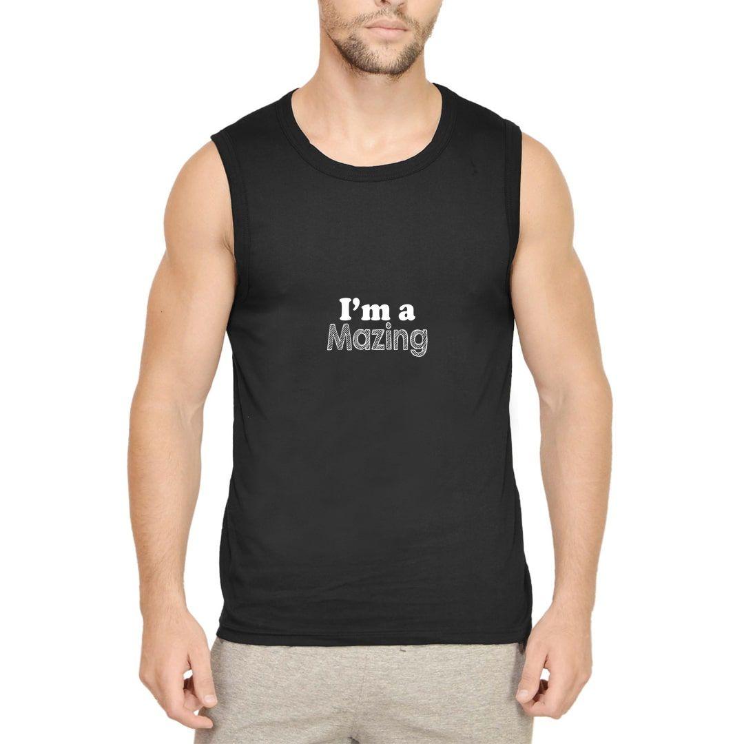 7d9bb734 I Am A Mazing Men Sleeveless T Shirt Vest Black Front.jpg